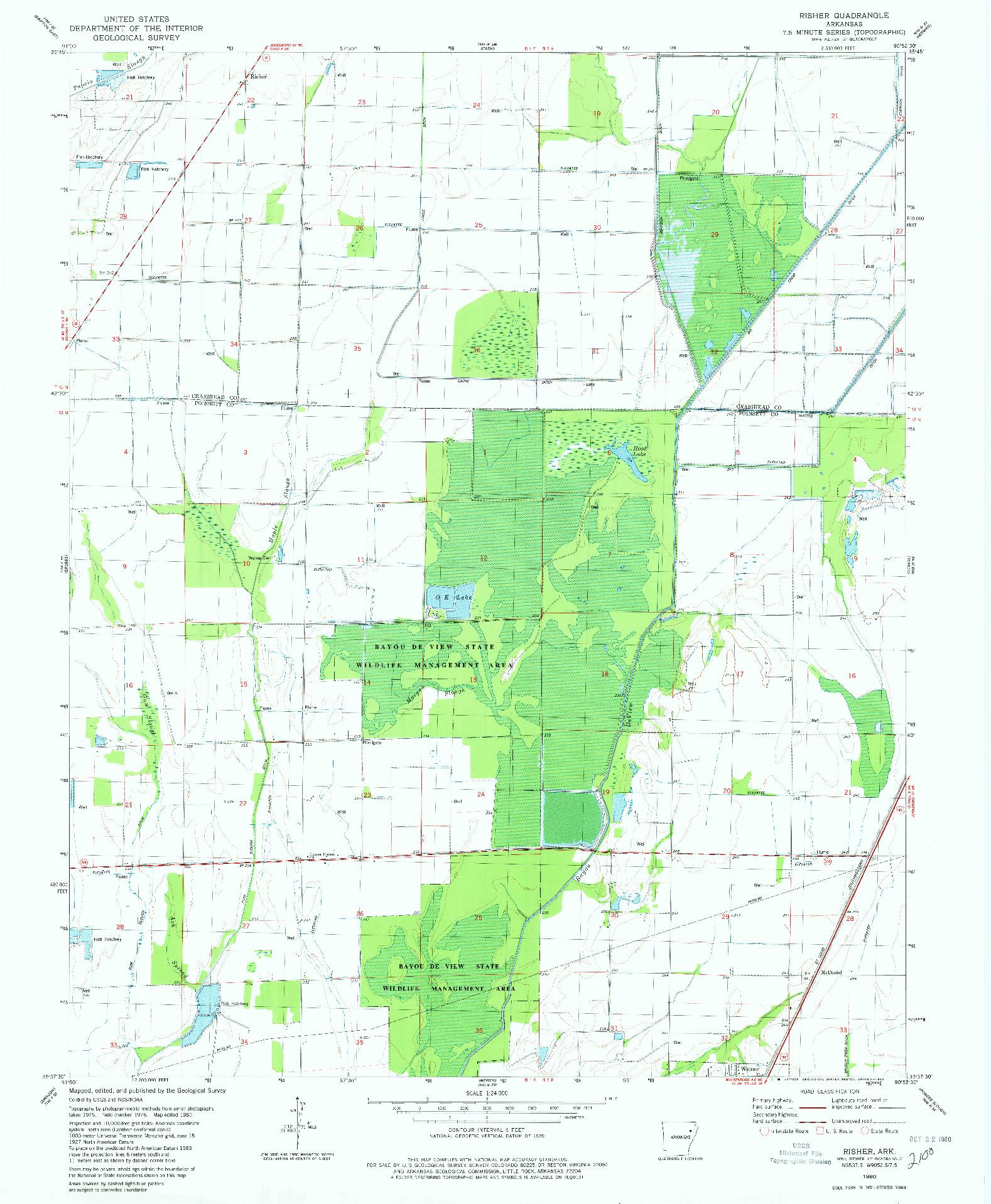 USGS 1:24000-SCALE QUADRANGLE FOR RISHER, AR 1980