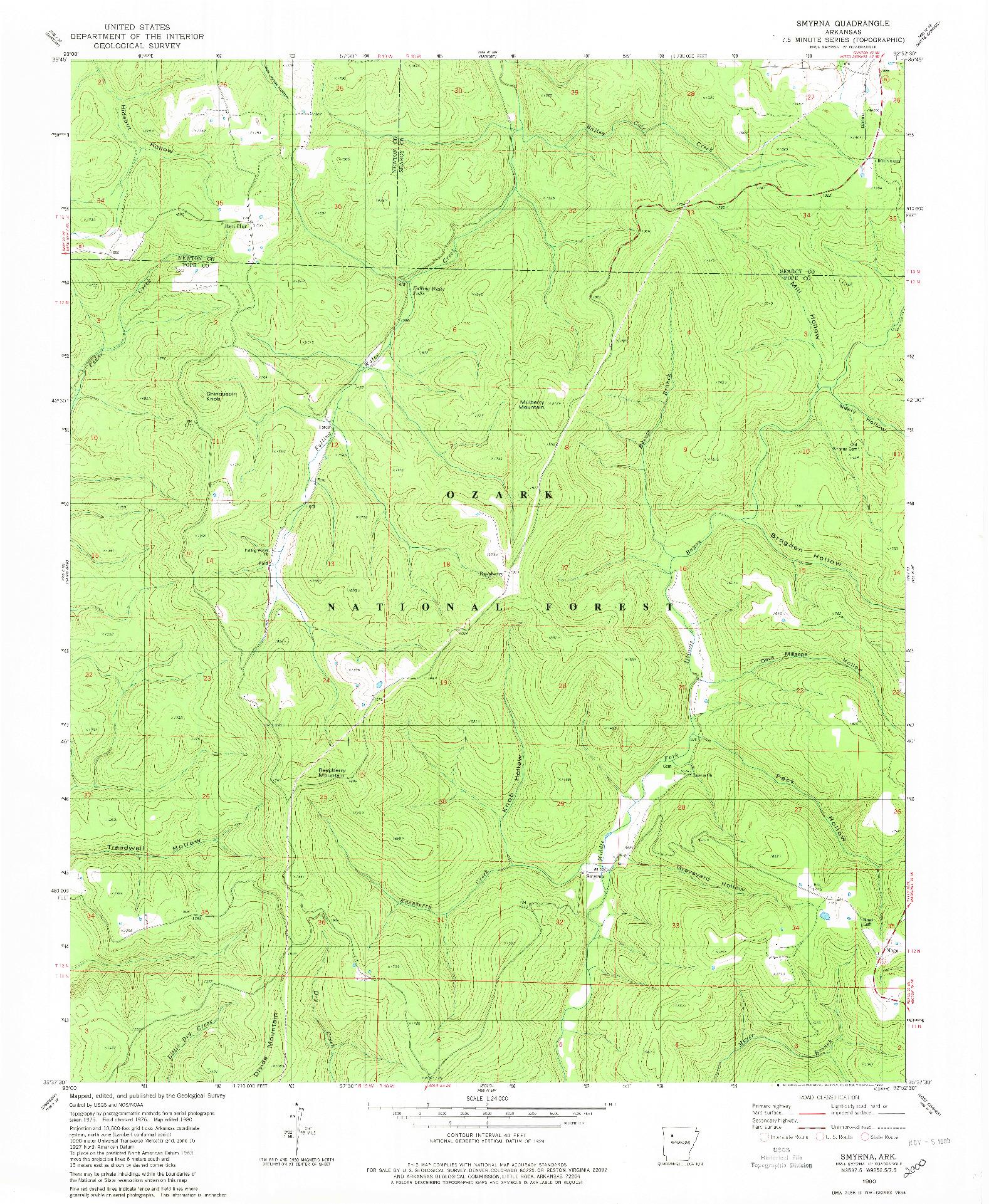 USGS 1:24000-SCALE QUADRANGLE FOR SMYRNA, AR 1980