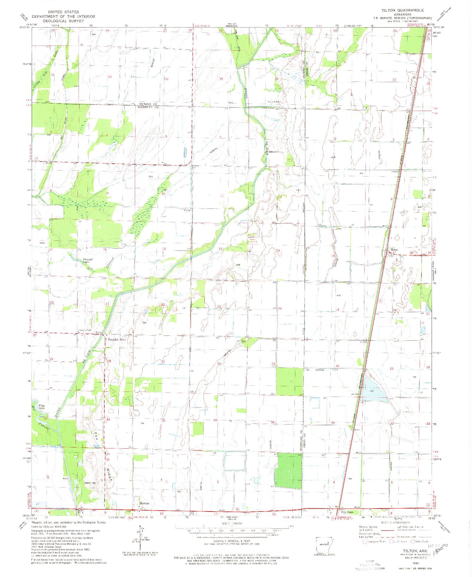 USGS 1:24000-SCALE QUADRANGLE FOR TILTON, AR 1980