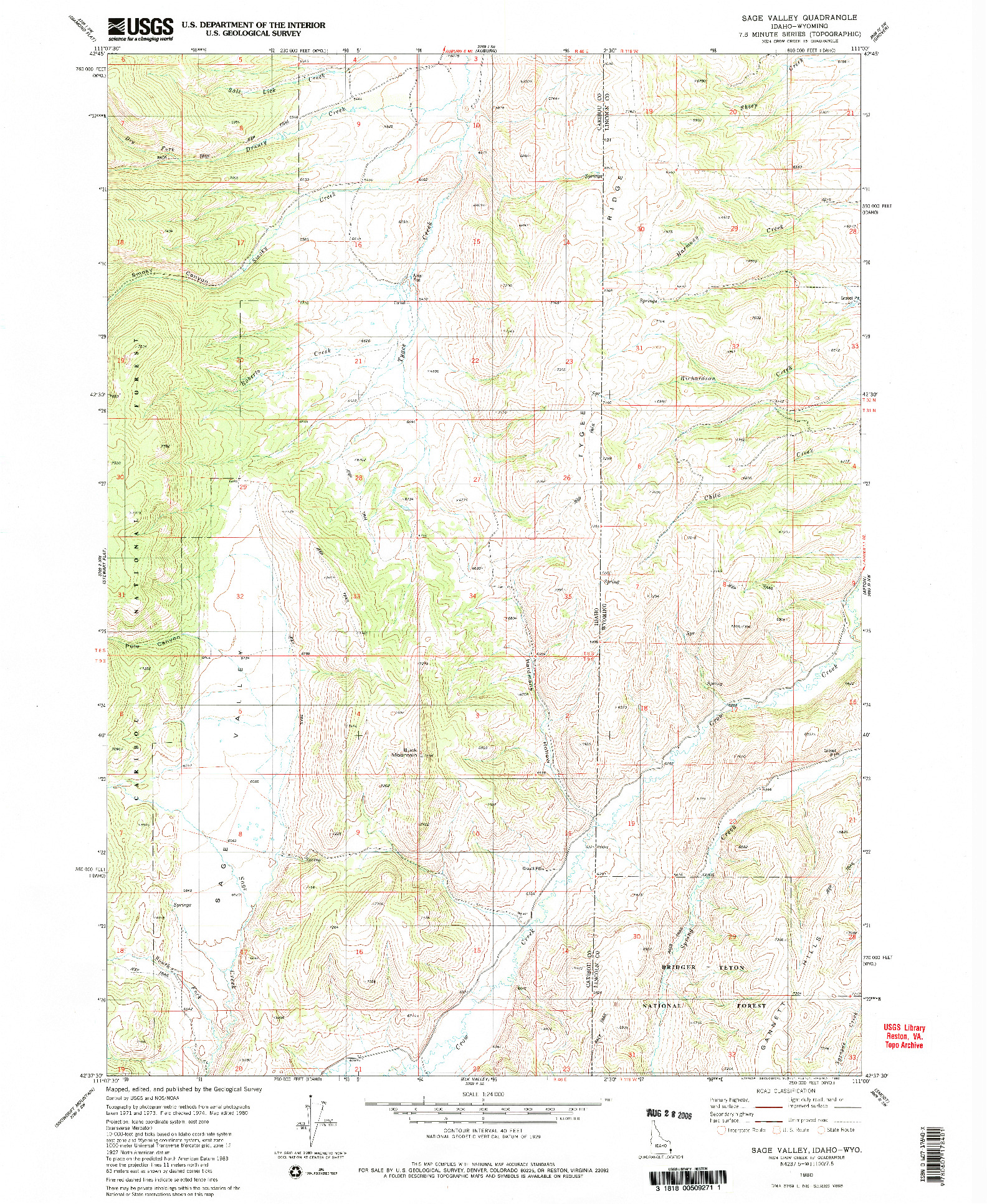USGS 1:24000-SCALE QUADRANGLE FOR SAGE VALLEY, ID 1980