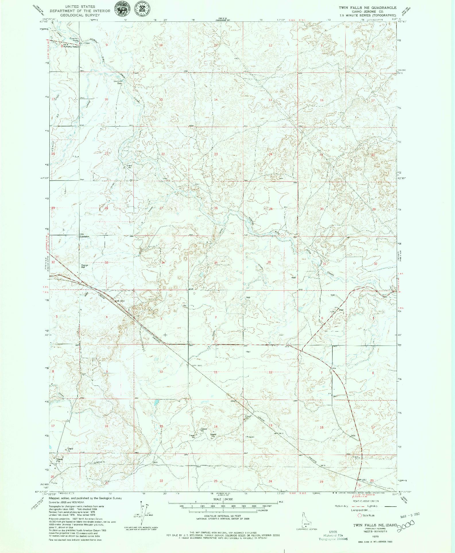 USGS 1:24000-SCALE QUADRANGLE FOR TWIN FALLS NE, ID 1979