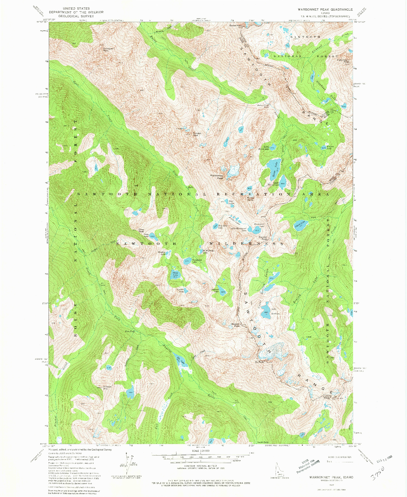 USGS 1:24000-SCALE QUADRANGLE FOR WARBONNET PEAK, ID 1972