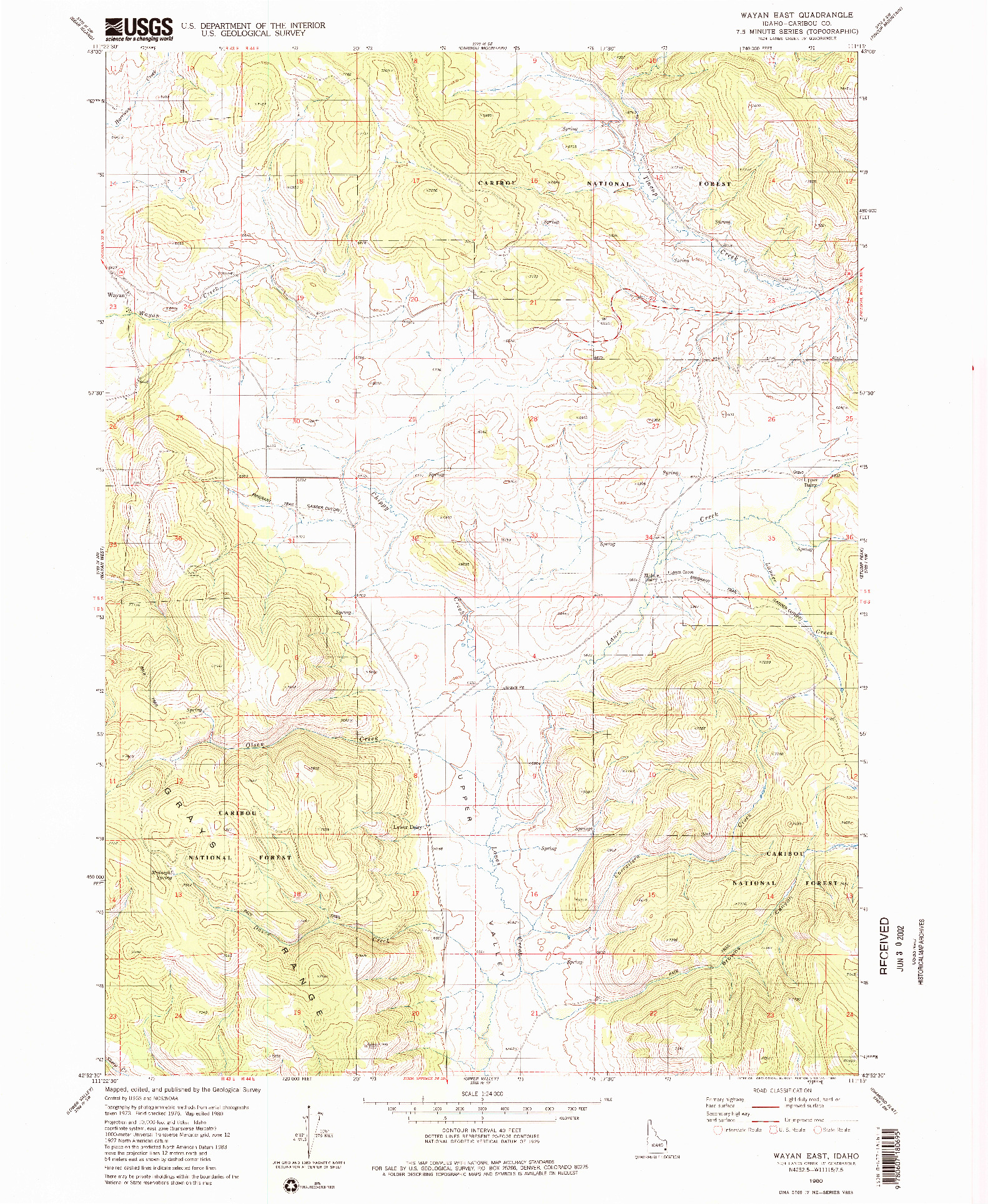 USGS 1:24000-SCALE QUADRANGLE FOR WAYAN EAST, ID 1980