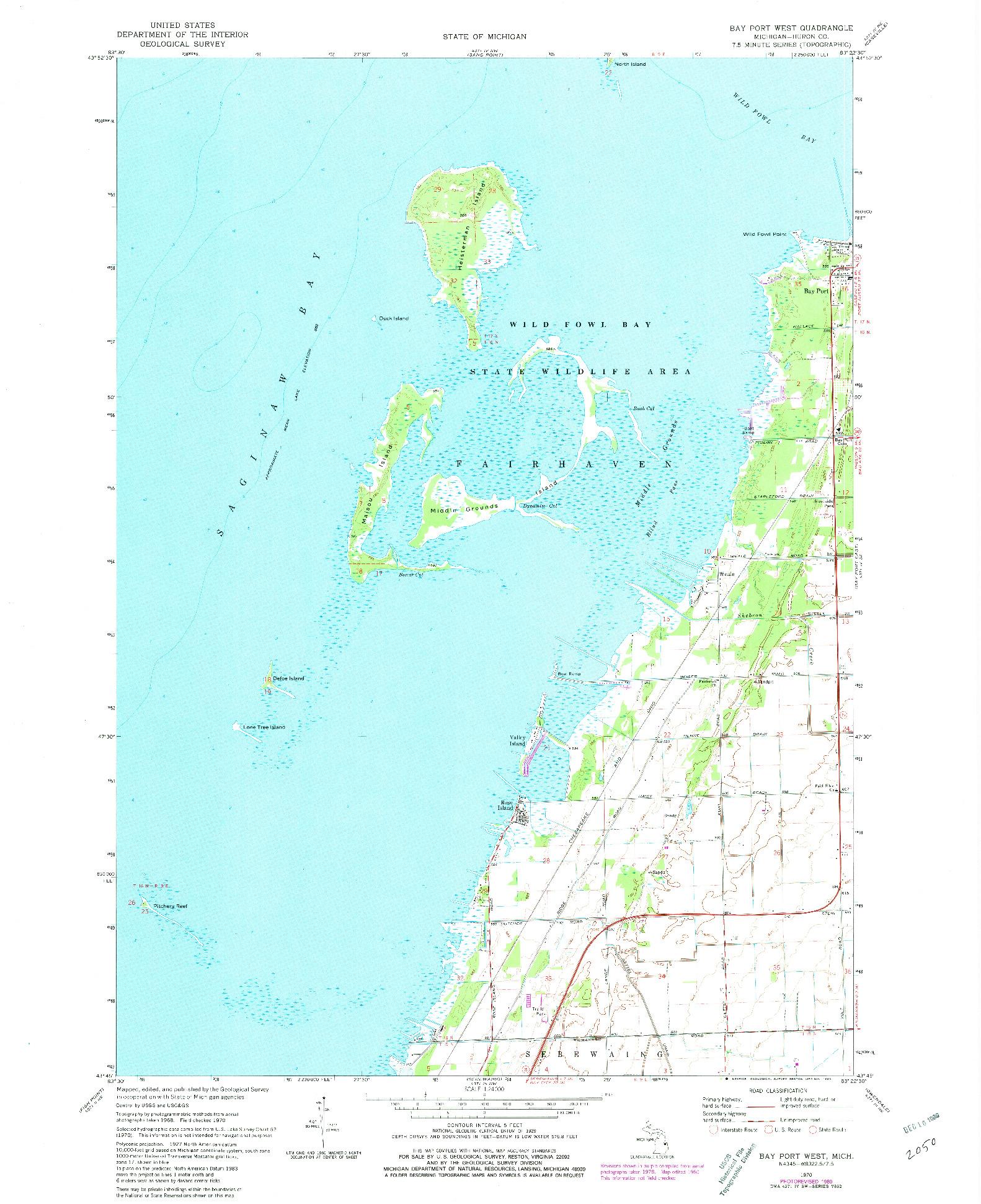 USGS 1:24000-SCALE QUADRANGLE FOR BAY PORT WEST, MI 1970