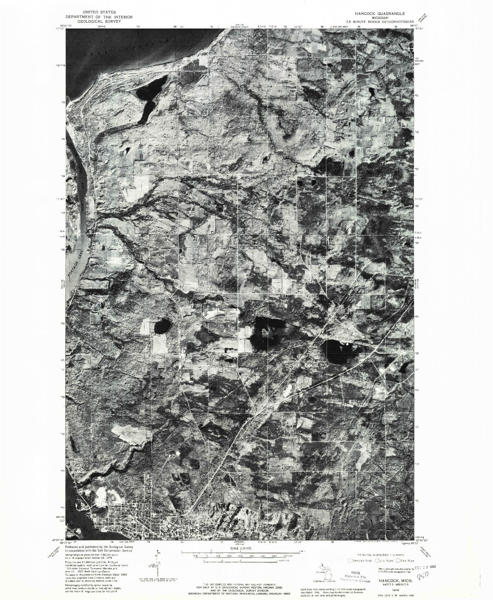 USGS 1:24000-SCALE QUADRANGLE FOR HANCOCK, MI 1978