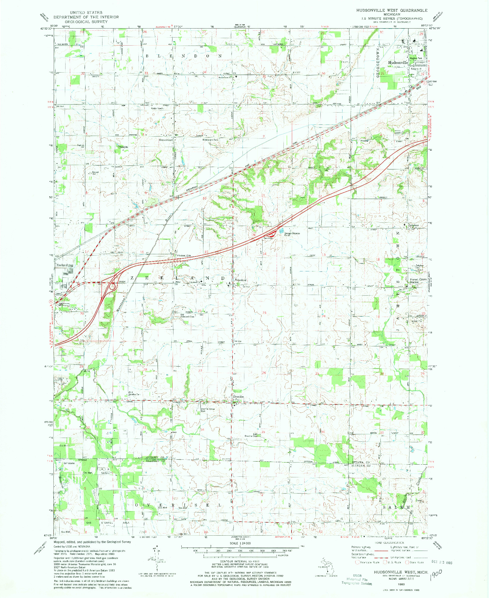 USGS 1:24000-SCALE QUADRANGLE FOR HUDSONVILLE WEST, MI 1980
