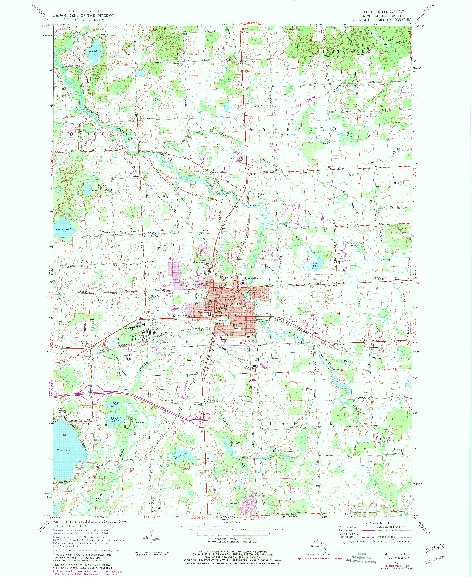 USGS 1:24000-SCALE QUADRANGLE FOR LAPEER, MI 1963