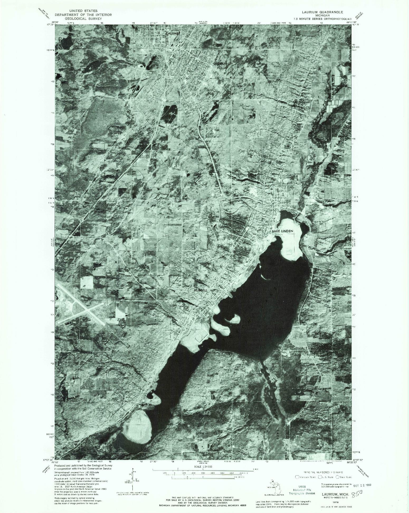 USGS 1:24000-SCALE QUADRANGLE FOR LAURIUM, MI 1978