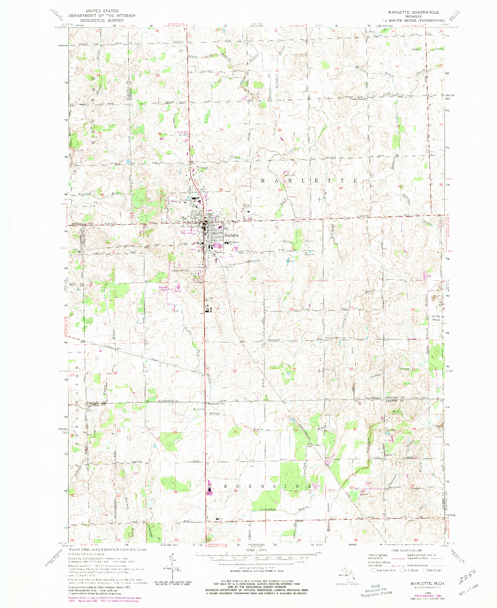 USGS 1:24000-SCALE QUADRANGLE FOR MARLETTE, MI 1963