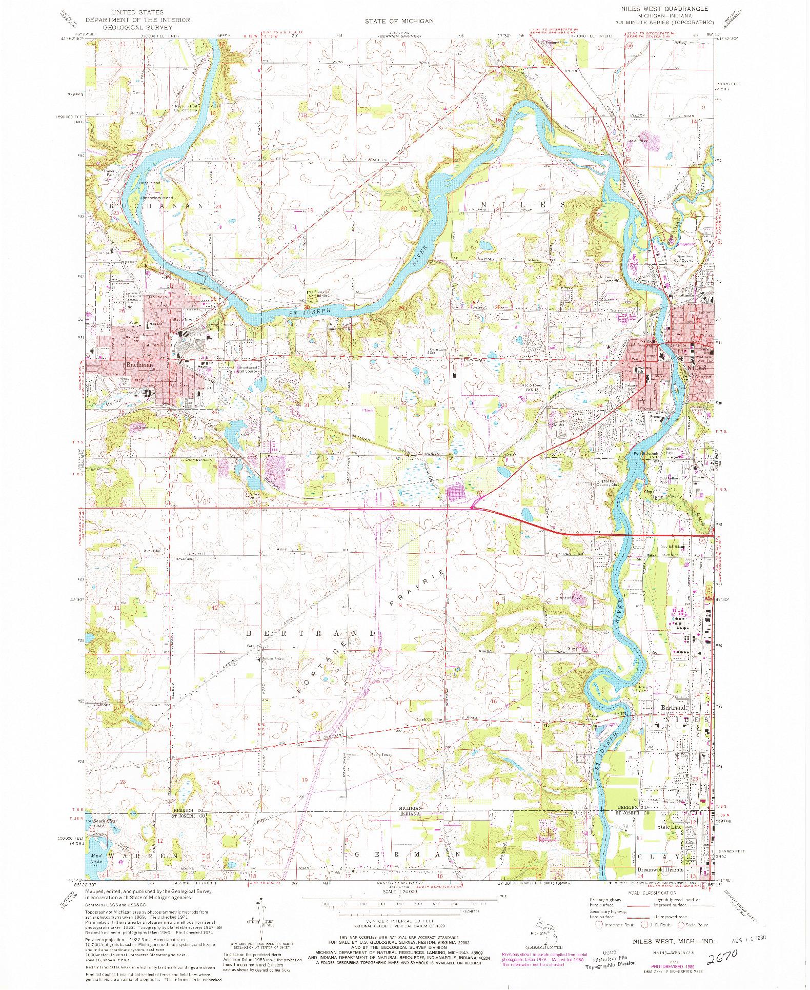 USGS 1:24000-SCALE QUADRANGLE FOR NILES WEST, MI 1971