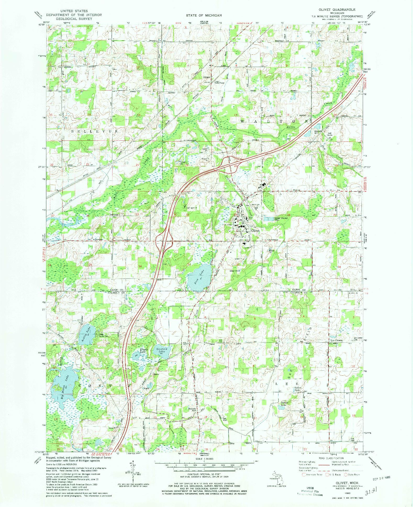 USGS 1:24000-SCALE QUADRANGLE FOR OLIVET, MI 1980
