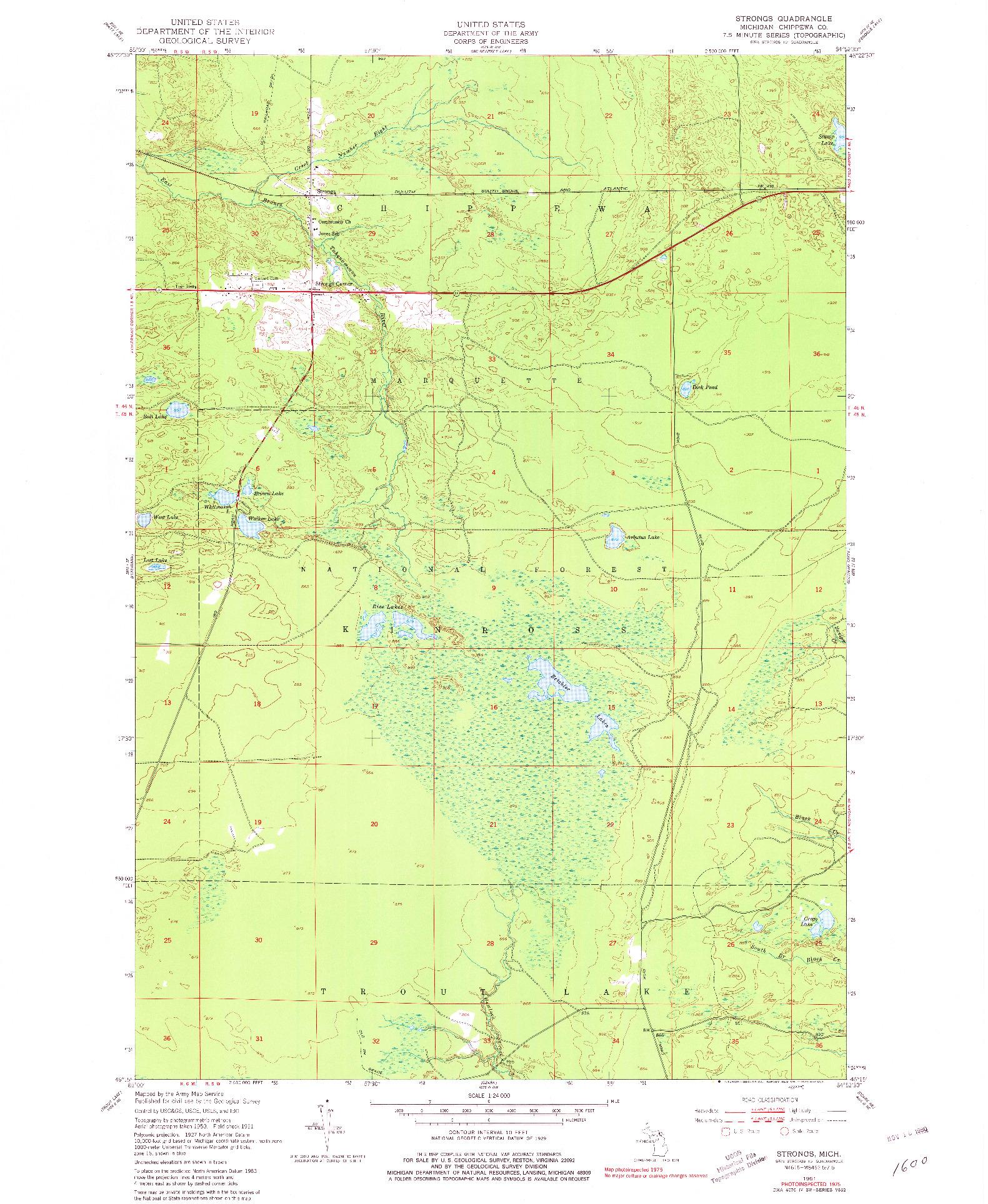 USGS 1:24000-SCALE QUADRANGLE FOR STRONGS, MI 1951