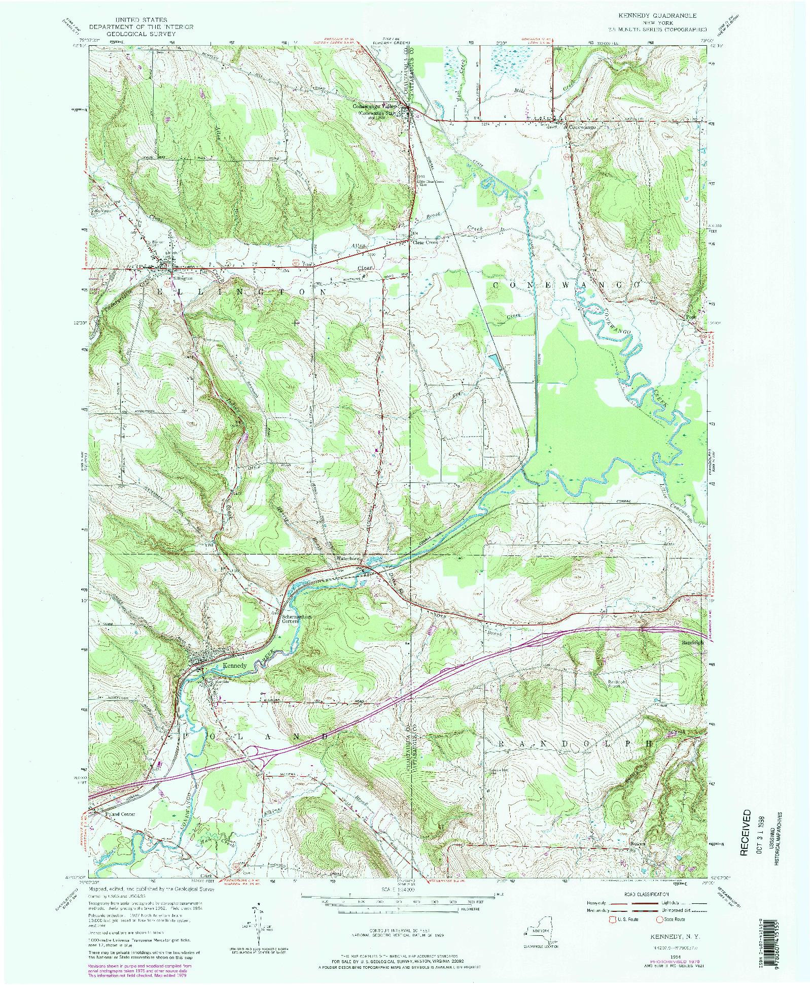 USGS 1:24000-SCALE QUADRANGLE FOR KENNEDY, NY 1954