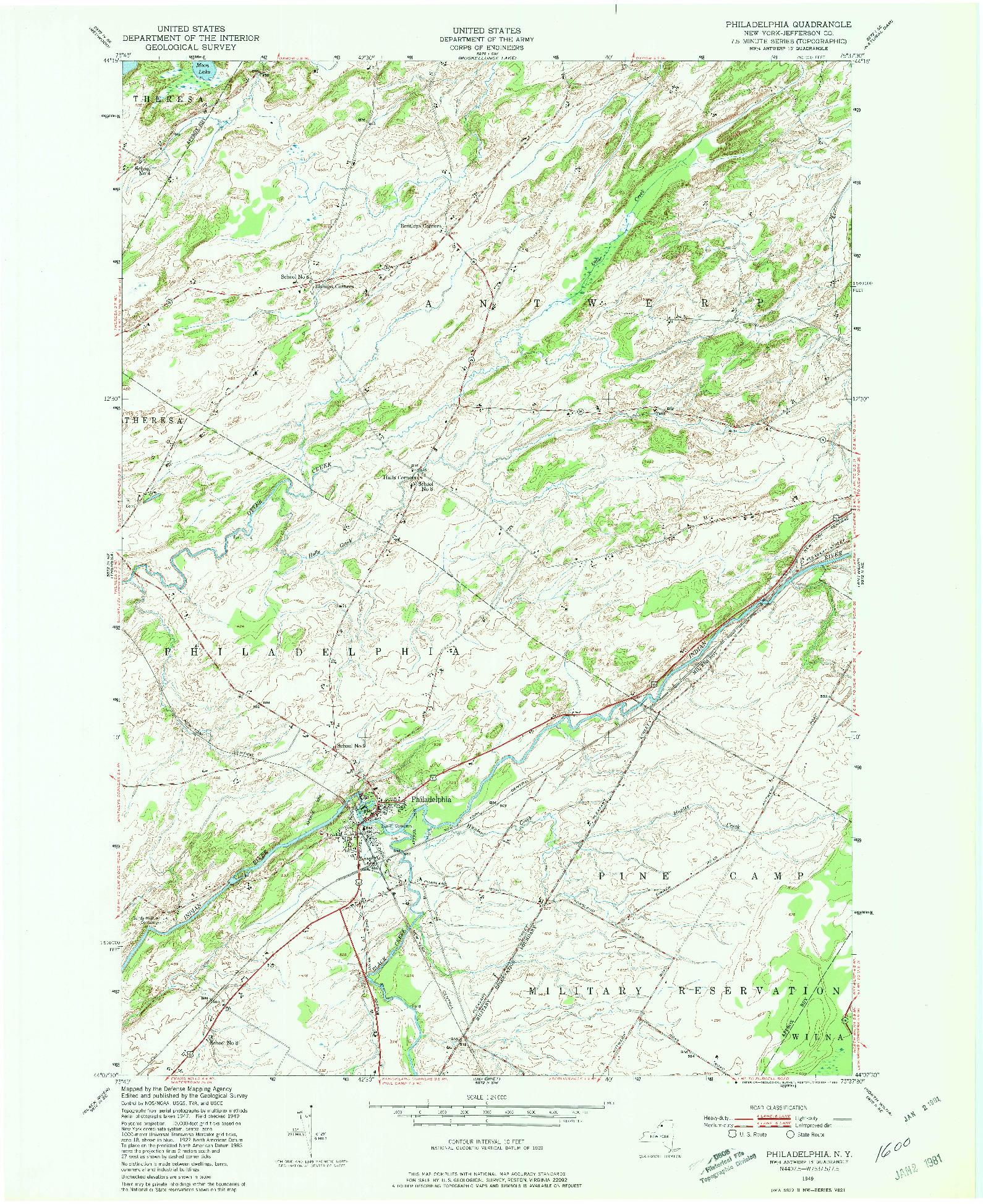 USGS 1:24000-SCALE QUADRANGLE FOR PHILADELPHIA, NY 1949
