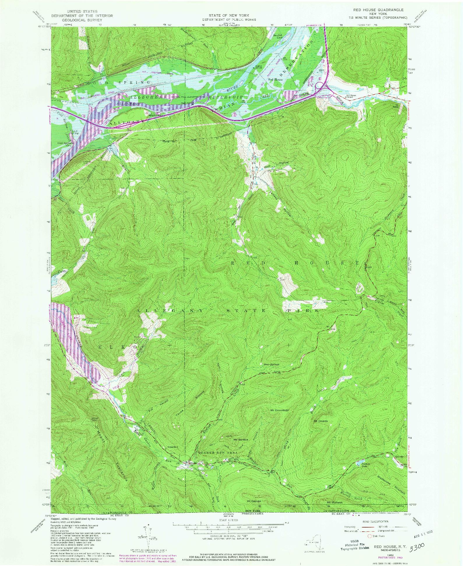 USGS 1:24000-SCALE QUADRANGLE FOR RED HOUSE, NY 1962
