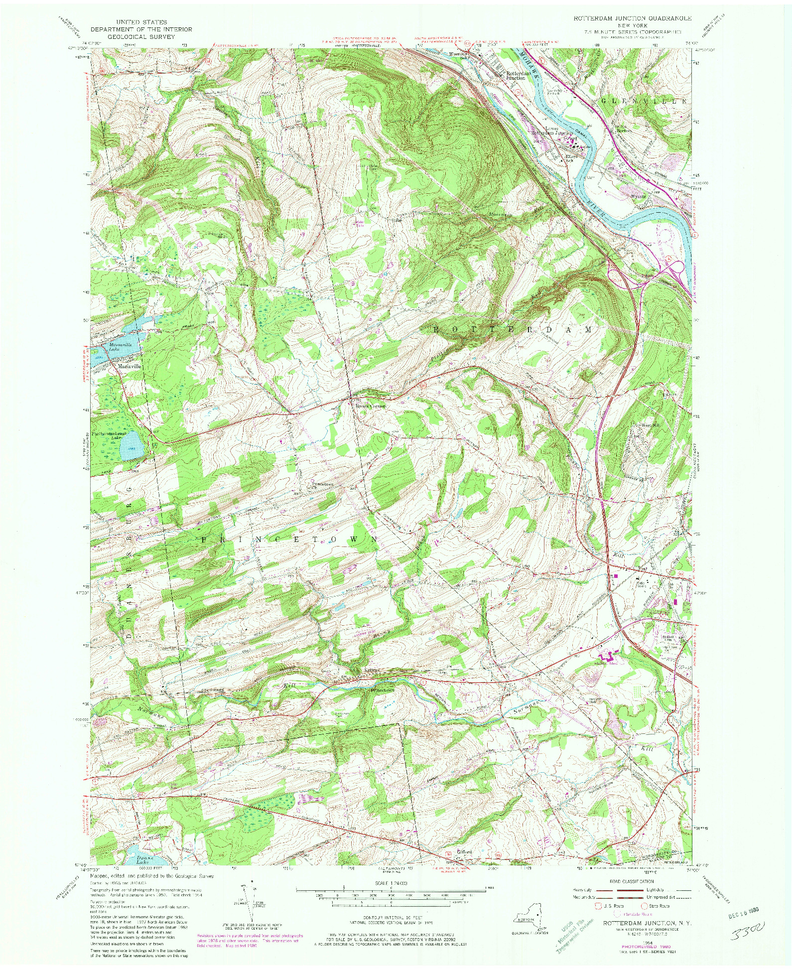 USGS 1:24000-SCALE QUADRANGLE FOR ROTTERDAM JUNCTION, NY 1954