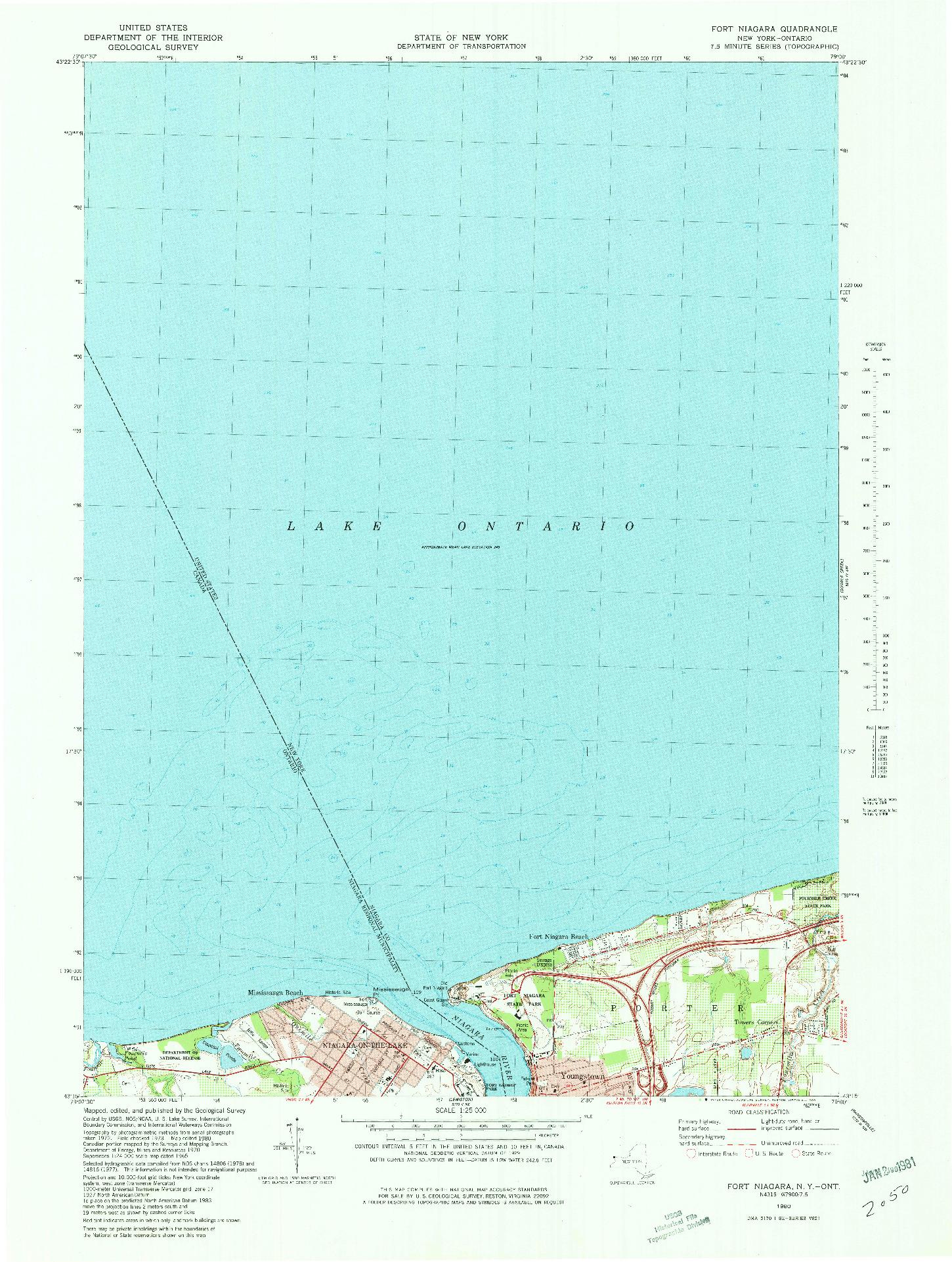 USGS 1:25000-SCALE QUADRANGLE FOR FT NIAGARA, NY 1980