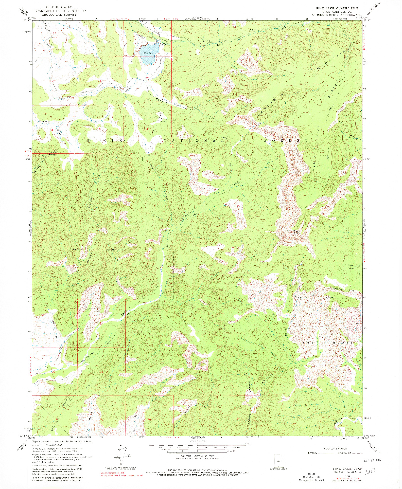 USGS 1:24000-SCALE QUADRANGLE FOR PINE LAKE, UT 1964