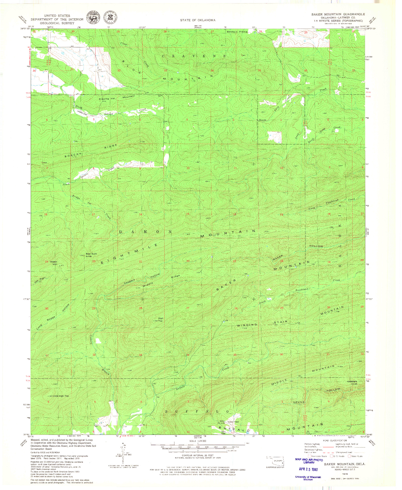USGS 1:24000-SCALE QUADRANGLE FOR BAKER MOUNTAIN, OK 1979