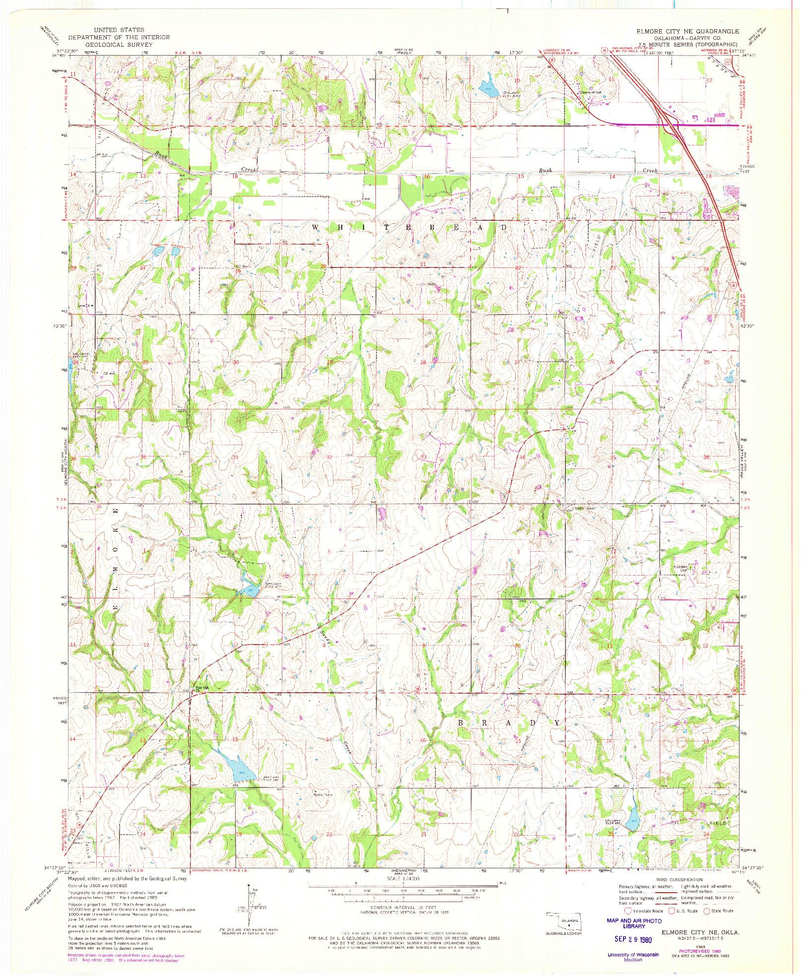 USGS 1:24000-SCALE QUADRANGLE FOR ELMORE CITY NE, OK 1969