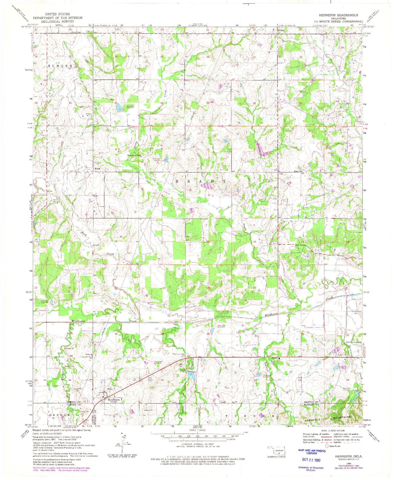 USGS 1:24000-SCALE QUADRANGLE FOR HENNEPIN, OK 1969