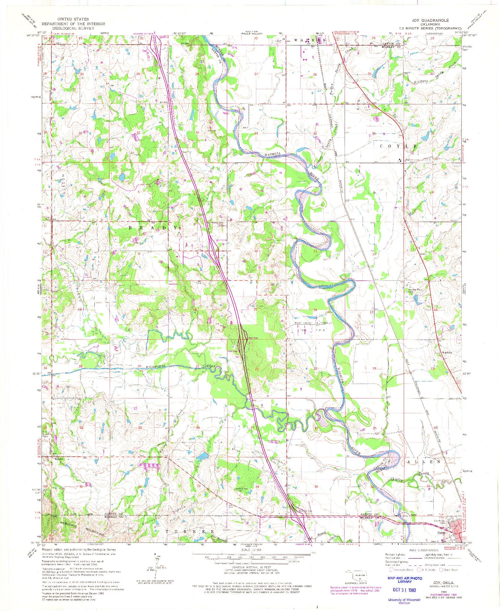 USGS 1:24000-SCALE QUADRANGLE FOR JOY, OK 1965