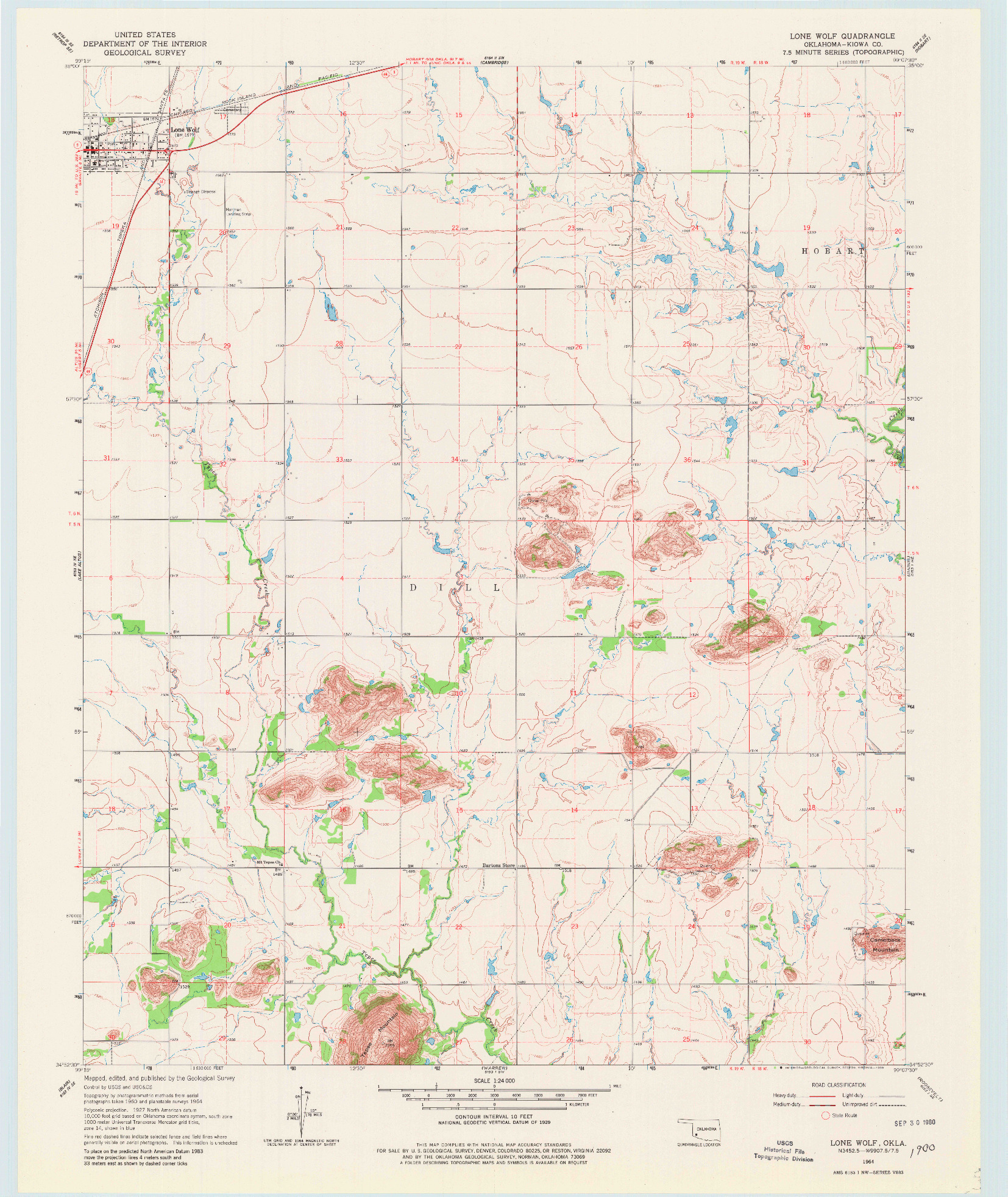 USGS 1:24000-SCALE QUADRANGLE FOR LONE WOLF, OK 1964