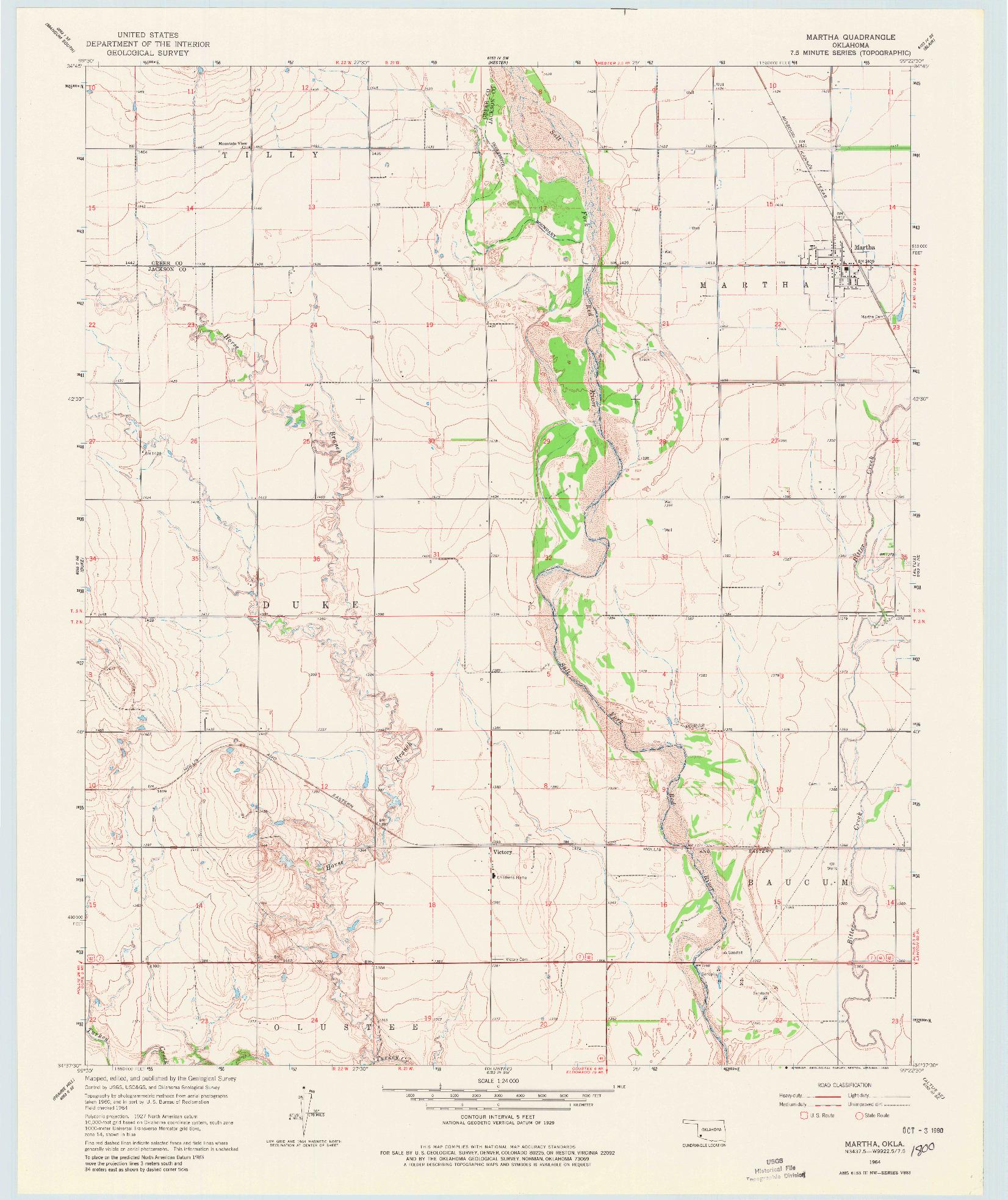 USGS 1:24000-SCALE QUADRANGLE FOR MARTHA, OK 1964
