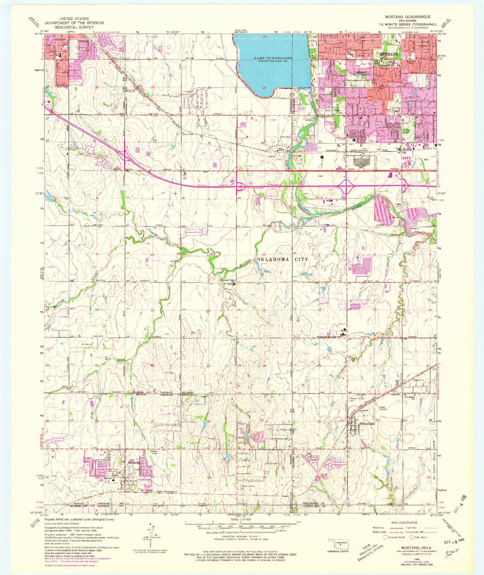 USGS 1:24000-SCALE QUADRANGLE FOR MUSTANG, OK 1966
