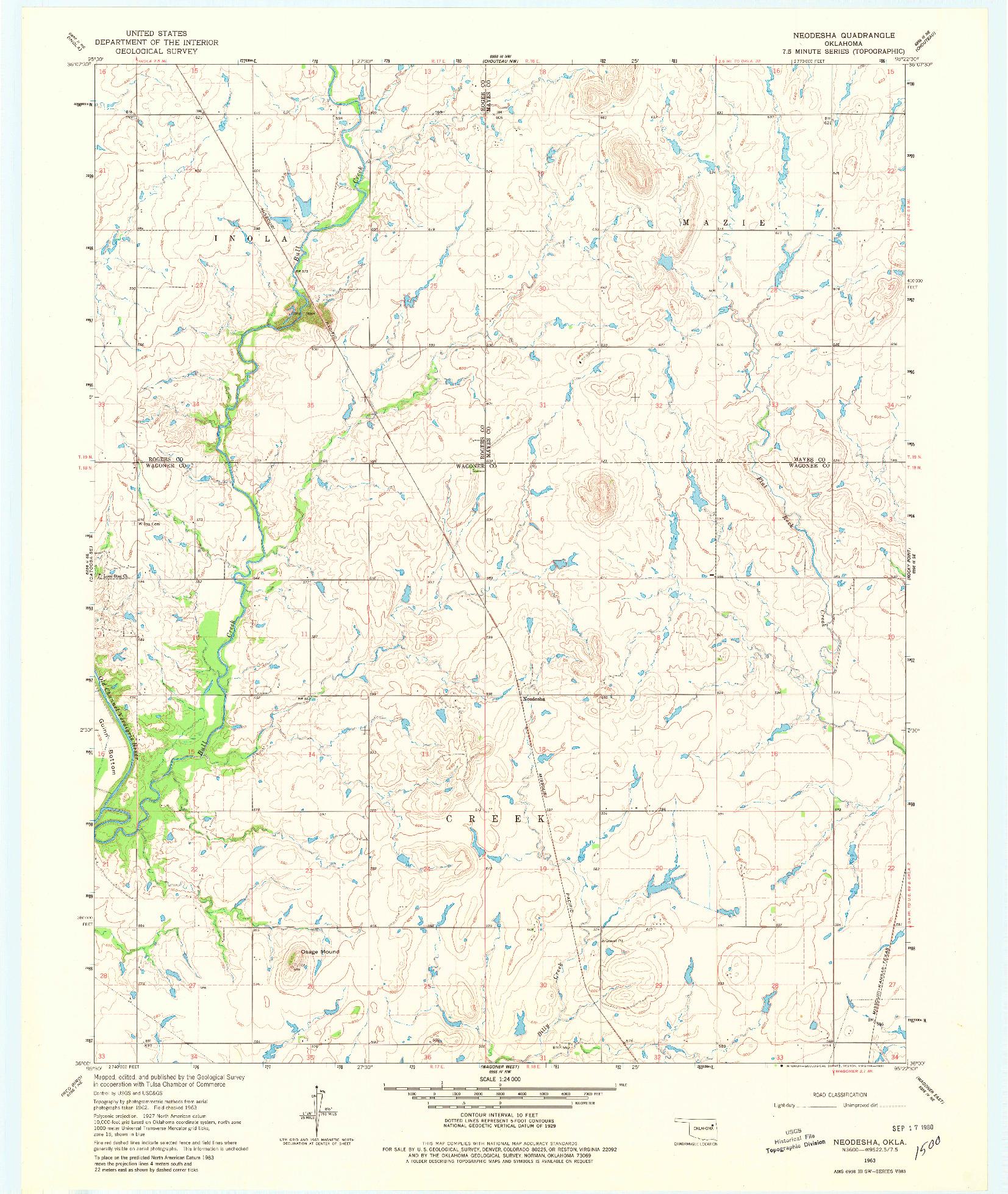 USGS 1:24000-SCALE QUADRANGLE FOR NEODESHA, OK 1963
