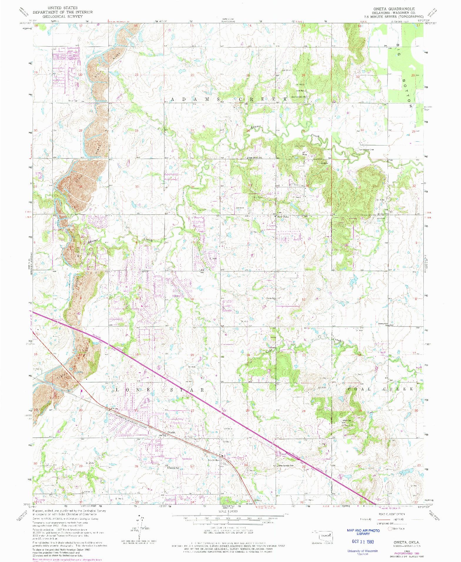 USGS 1:24000-SCALE QUADRANGLE FOR ONETA, OK 1963