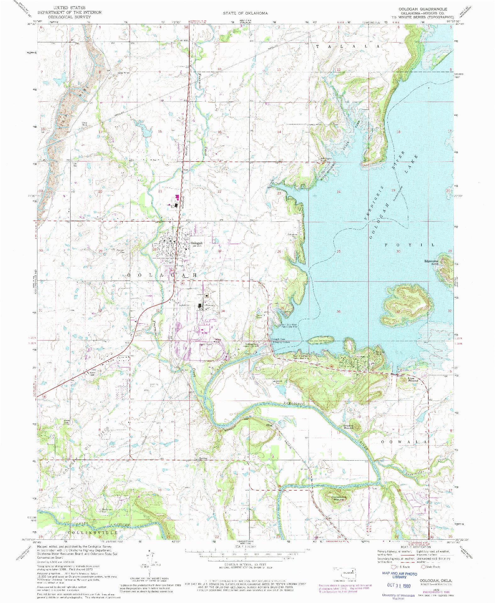 USGS 1:24000-SCALE QUADRANGLE FOR OOLOGAH, OK 1970