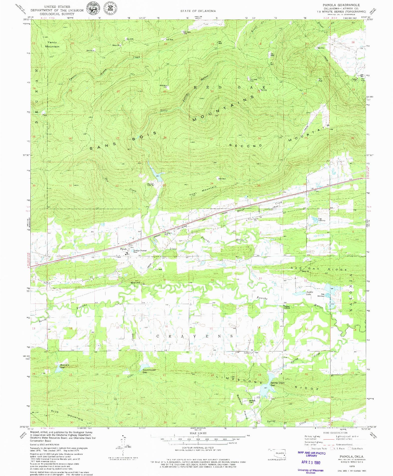 USGS 1:24000-SCALE QUADRANGLE FOR PANOLA, OK 1979