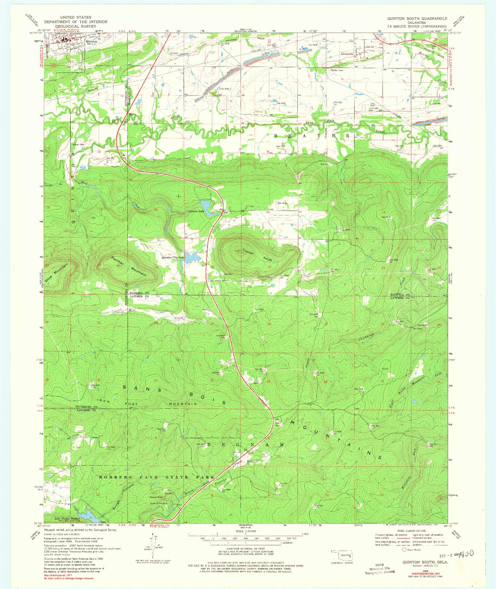 USGS 1:24000-SCALE QUADRANGLE FOR QUINTON SOUTH, OK 1969