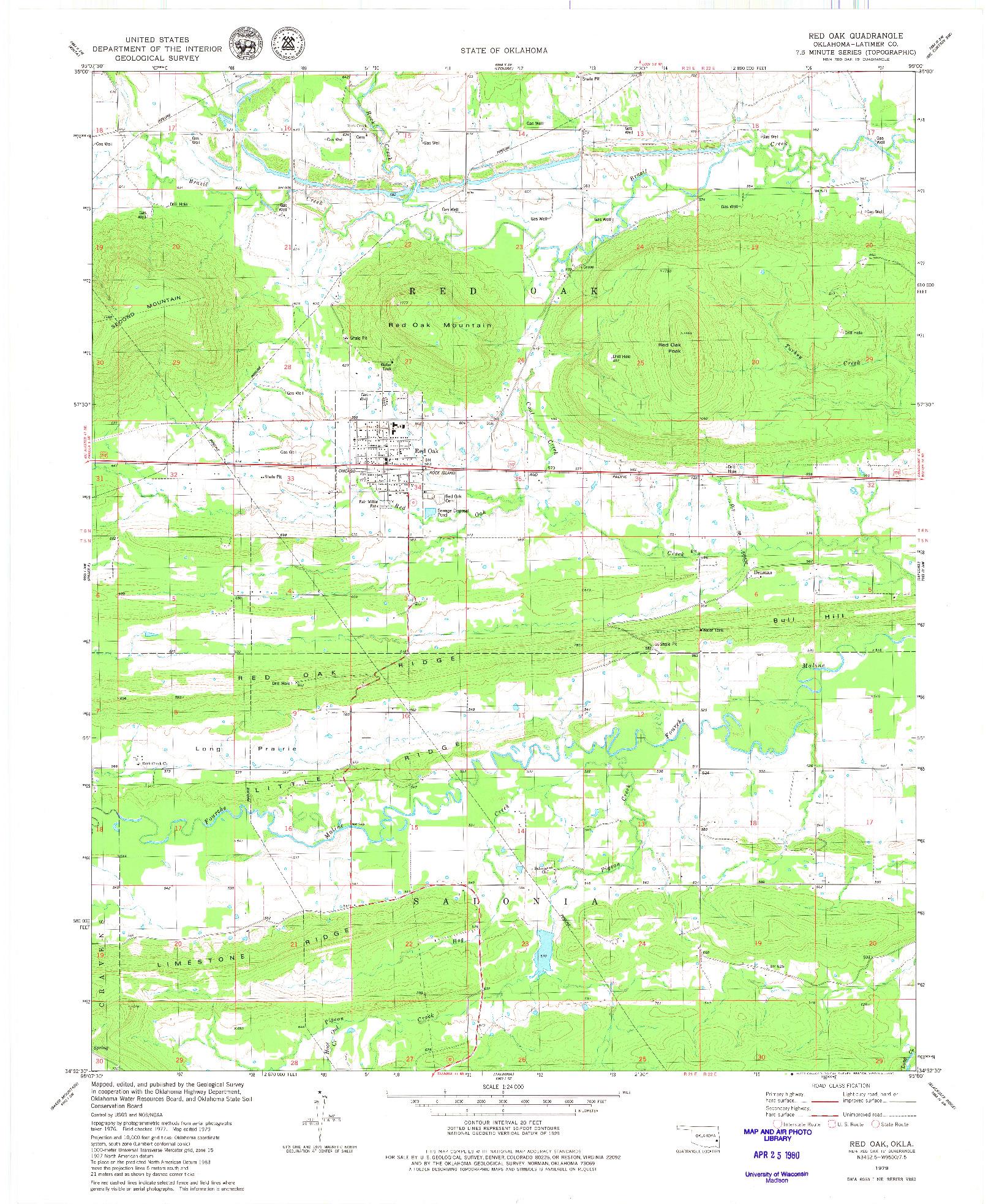 USGS 1:24000-SCALE QUADRANGLE FOR RED OAK, OK 1979