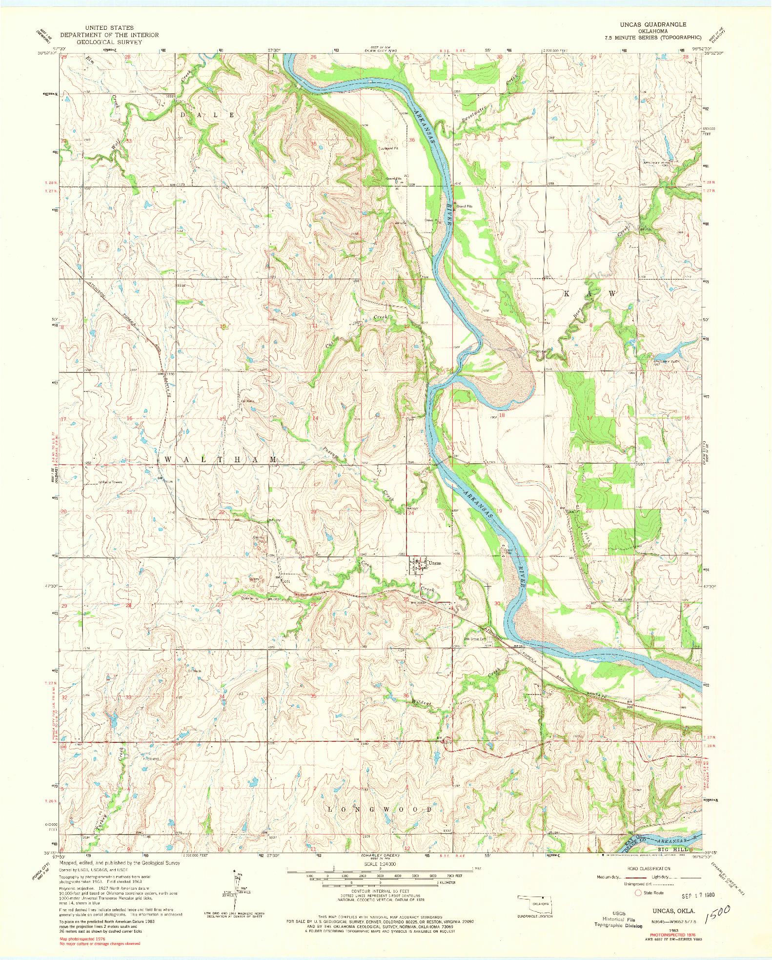 USGS 1:24000-SCALE QUADRANGLE FOR UNCAS, OK 1963
