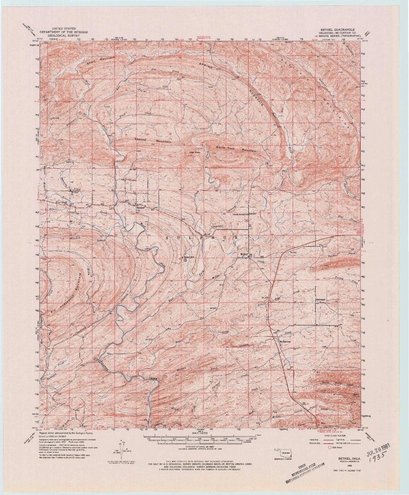 USGS 1:62500-SCALE QUADRANGLE FOR BETHEL, OK 1960