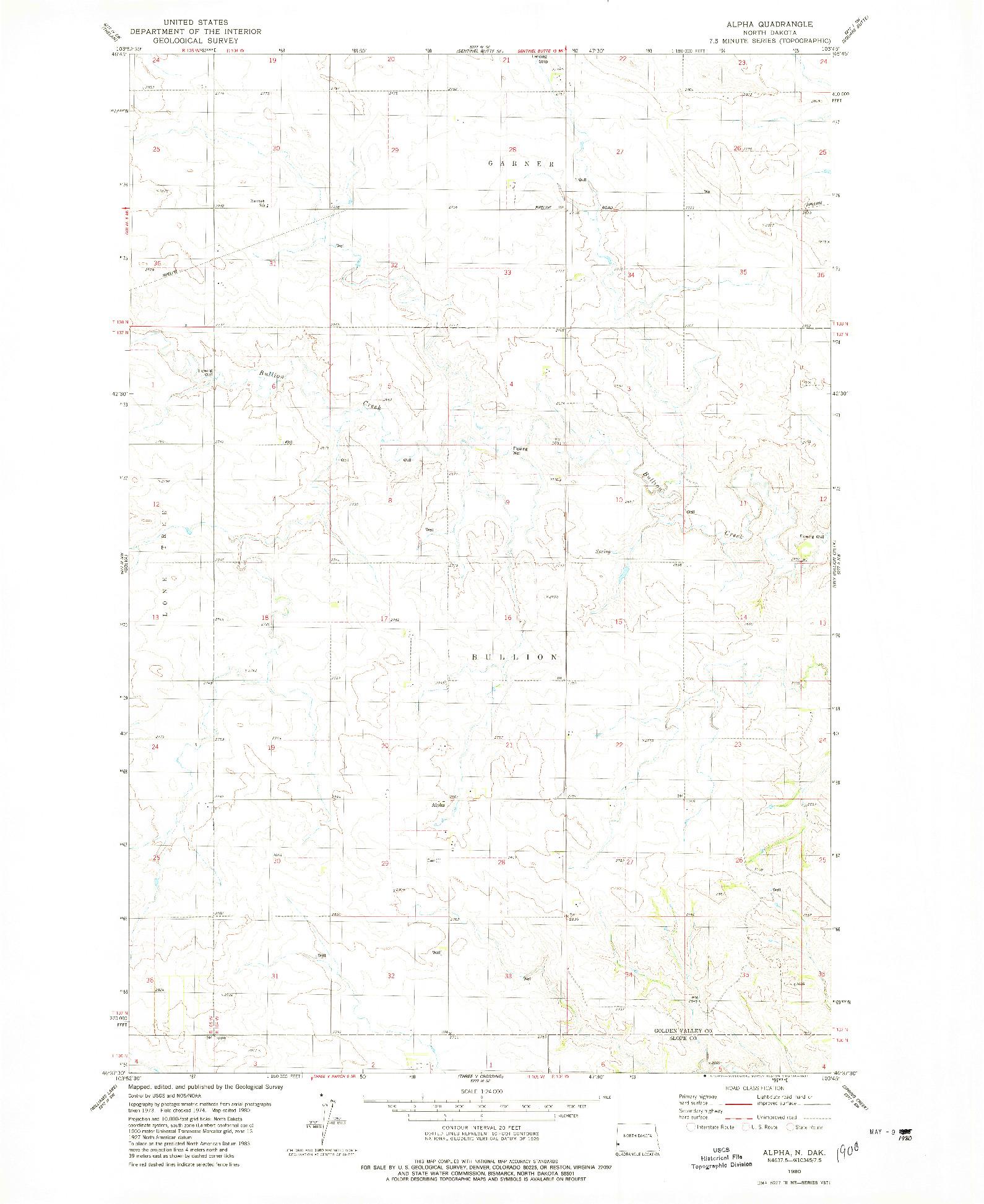 USGS 1:24000-SCALE QUADRANGLE FOR ALPHA, ND 1980