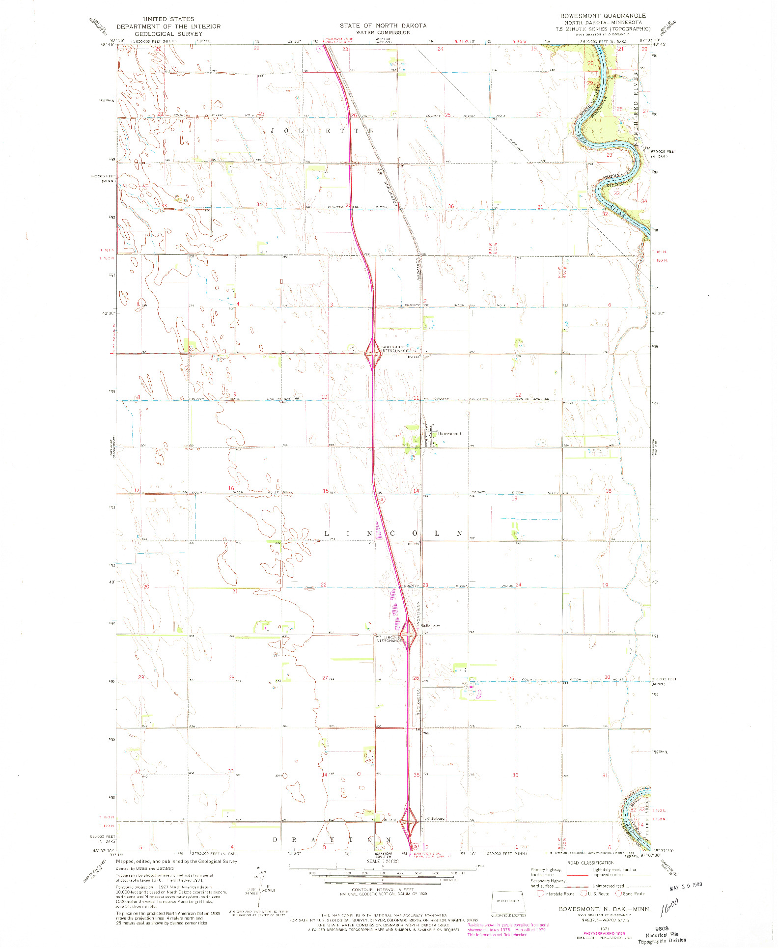 USGS 1:24000-SCALE QUADRANGLE FOR BOWESMONT, ND 1971