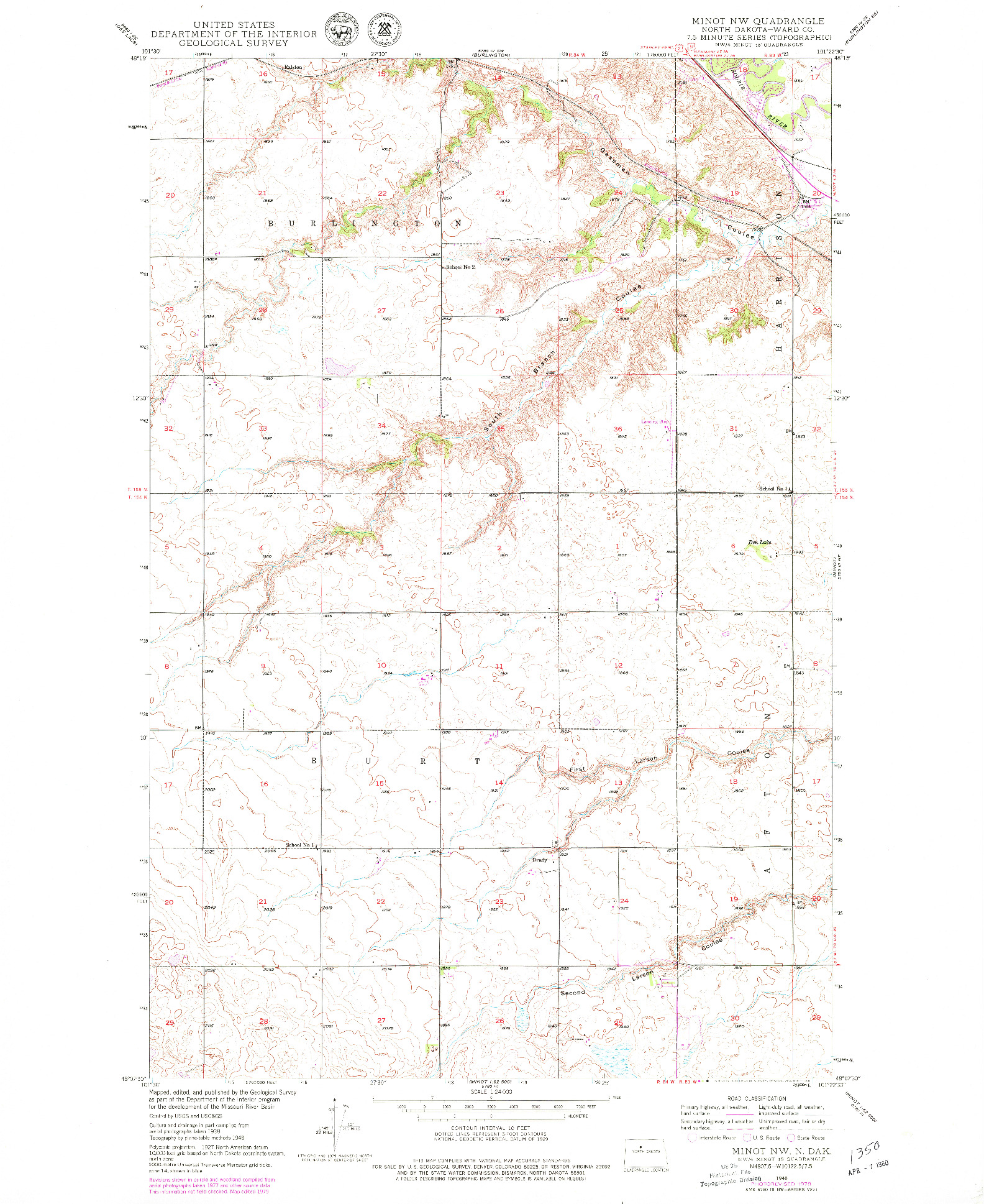 USGS 1:24000-SCALE QUADRANGLE FOR MINOT NW, ND 1948
