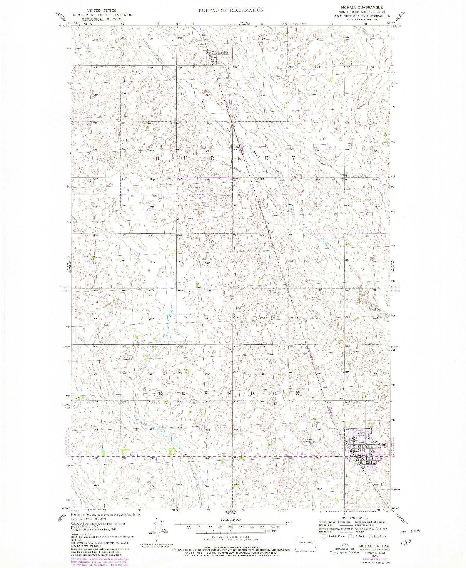 USGS 1:24000-SCALE QUADRANGLE FOR MOHALL, ND 1948