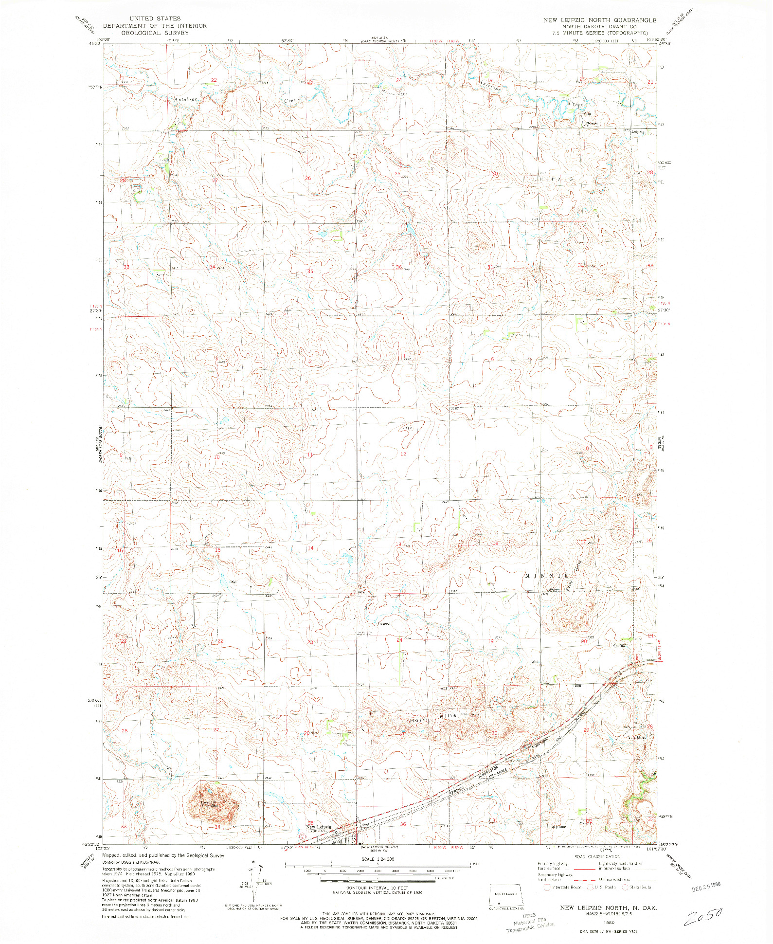 USGS 1:24000-SCALE QUADRANGLE FOR NEW LEIPZIG NORTH, ND 1980