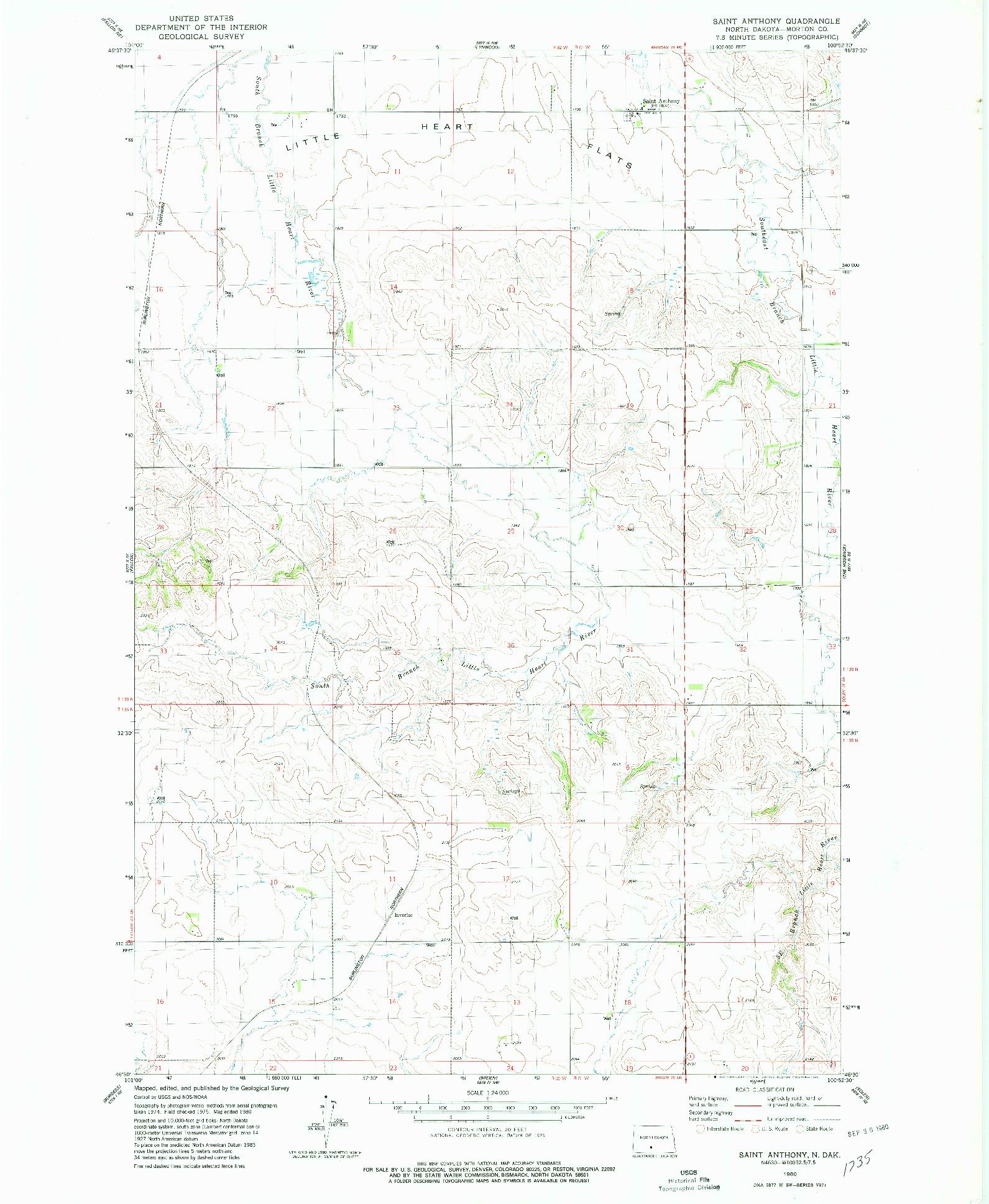 USGS 1:24000-SCALE QUADRANGLE FOR SAINT ANTHONY, ND 1980