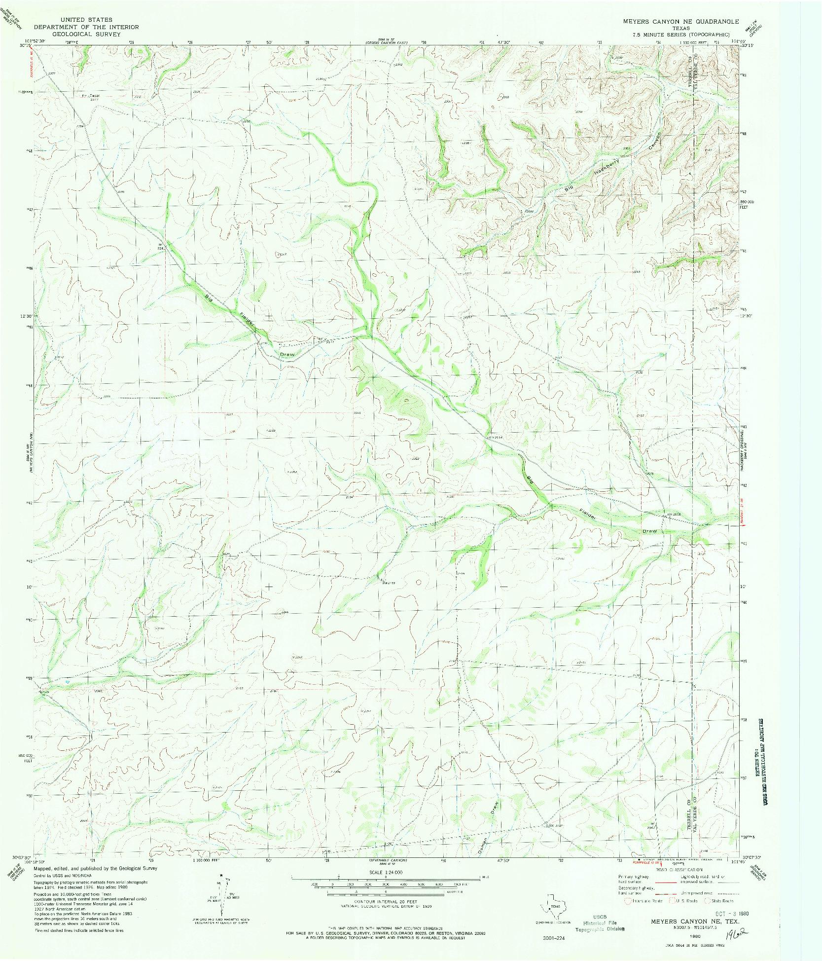 USGS 1:24000-SCALE QUADRANGLE FOR MEYERS CANYON NE, TX 1980