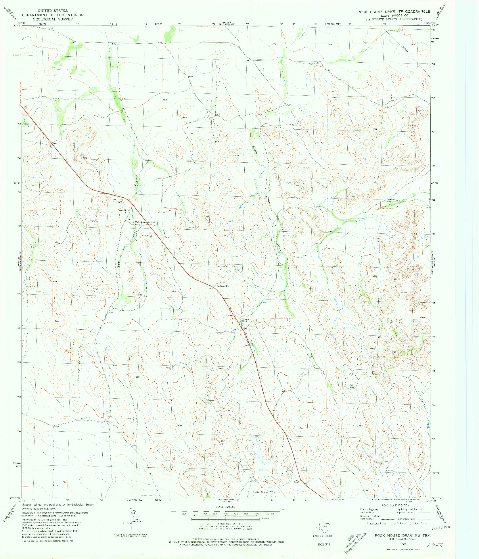 USGS 1:24000-SCALE QUADRANGLE FOR ROCK HOUSE DRAW NW, TX 1980