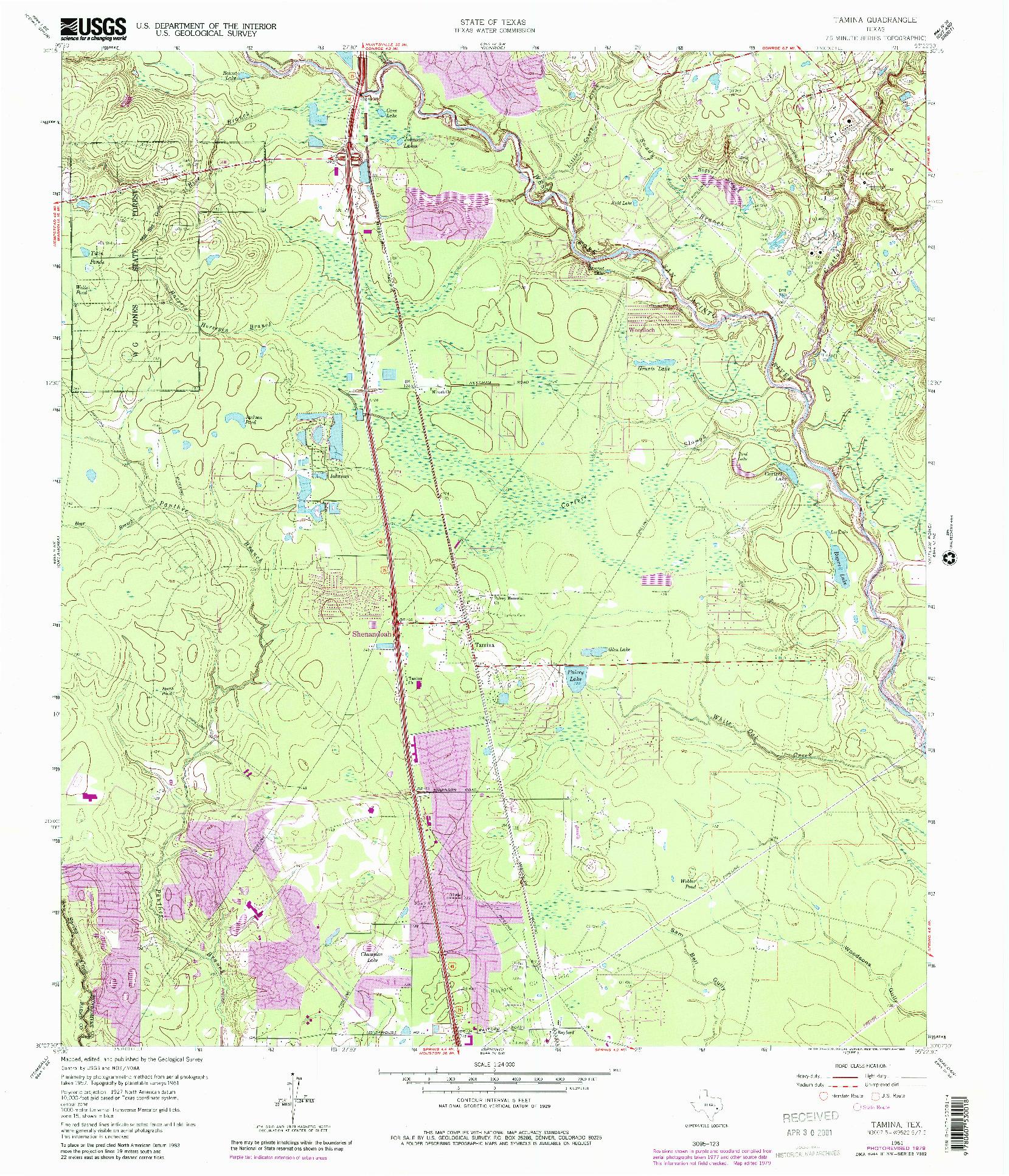USGS 1:24000-SCALE QUADRANGLE FOR TAMINA, TX 1961