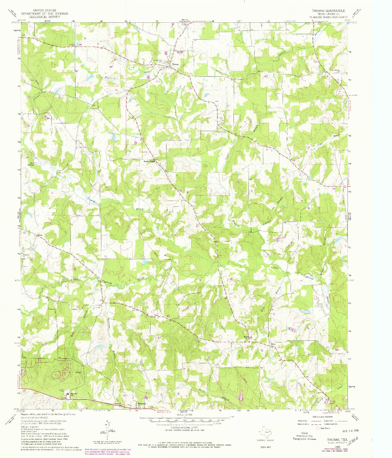 USGS 1:24000-SCALE QUADRANGLE FOR THOMAS, TX 1960