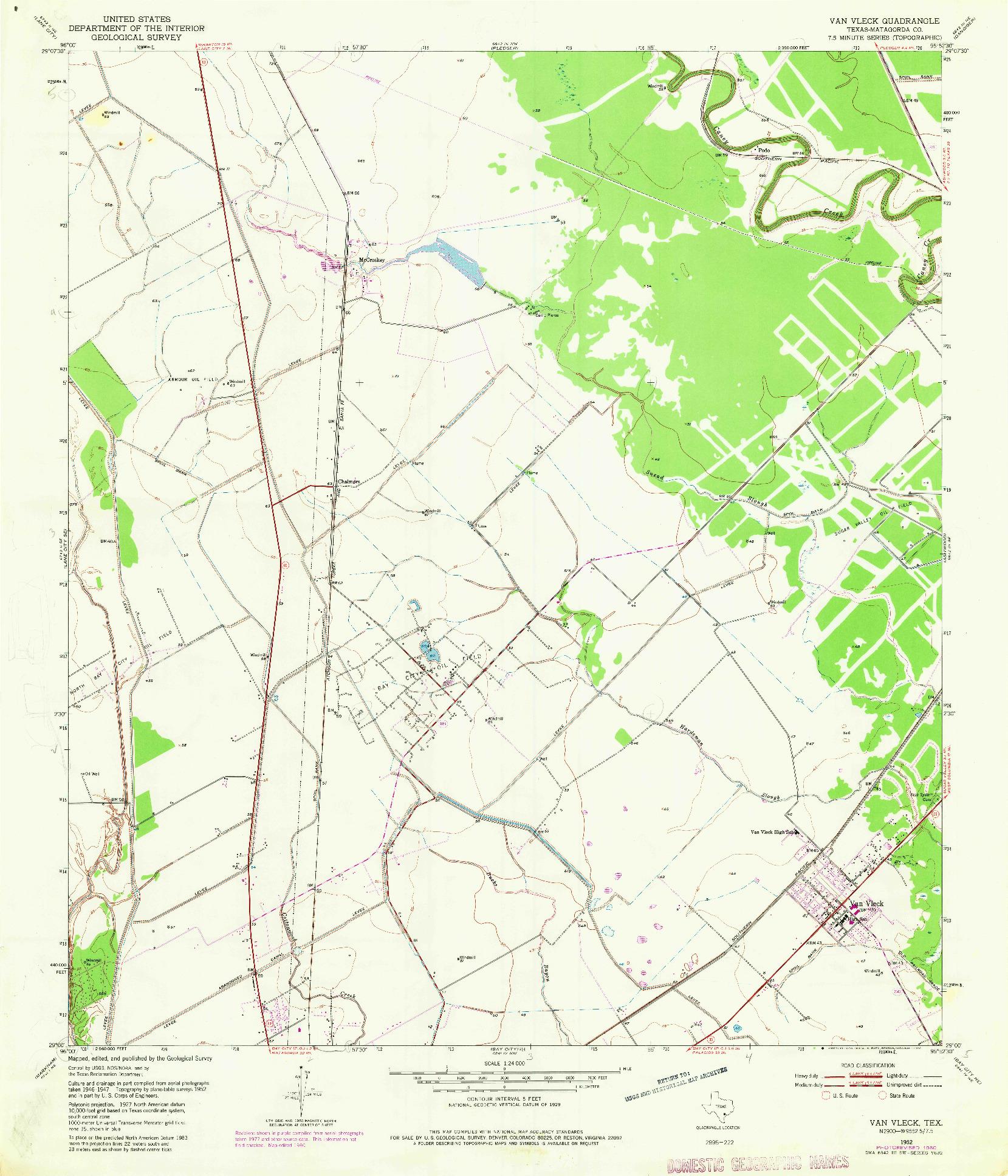 USGS 1:24000-SCALE QUADRANGLE FOR VAN VLECK, TX 1952