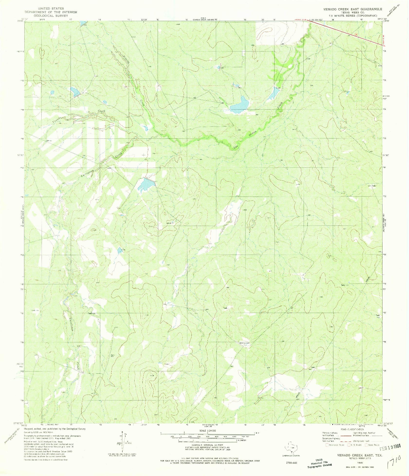 USGS 1:24000-SCALE QUADRANGLE FOR VENADO CREEK EAST, TX 1980
