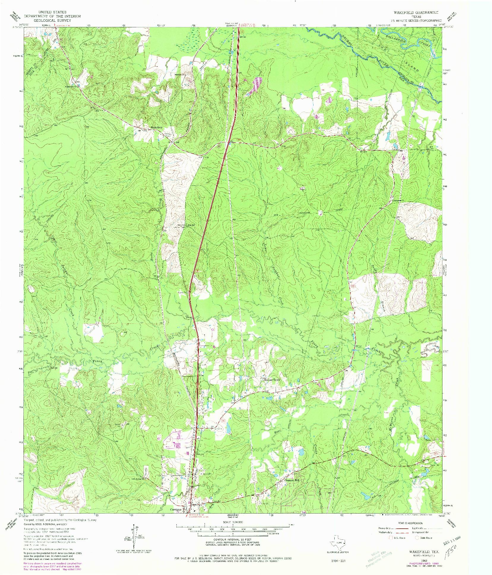 USGS 1:24000-SCALE QUADRANGLE FOR WAKEFIELD, TX 1963